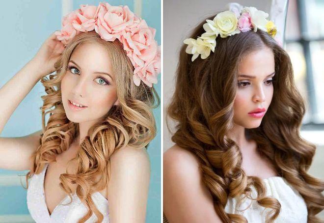 свадебные прически с ободком из цветов
