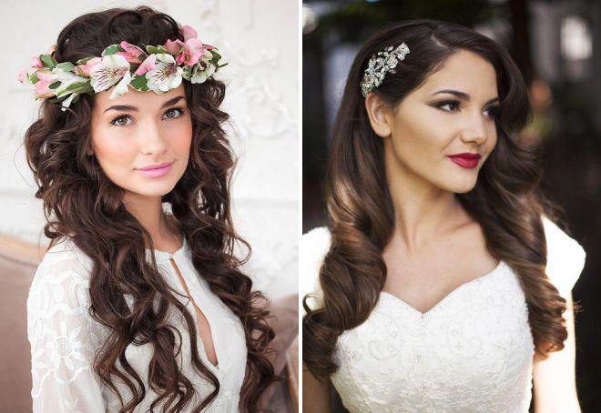 свадебная прическа распущенные волосы с цветами