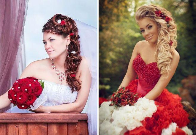свадебные прически с красными цветами в волосах