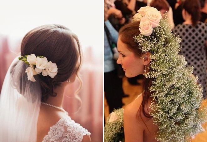 свадебная прическа с живыми цветами и фатой
