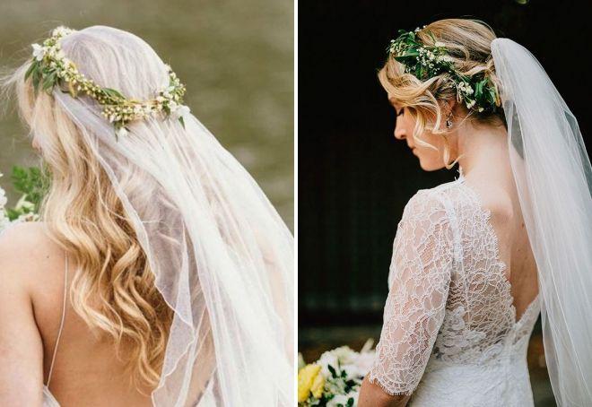 свадебные прически с цветами и фатой