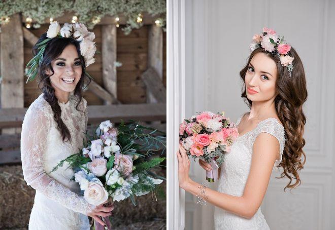 свадебные прически украшенные цветами