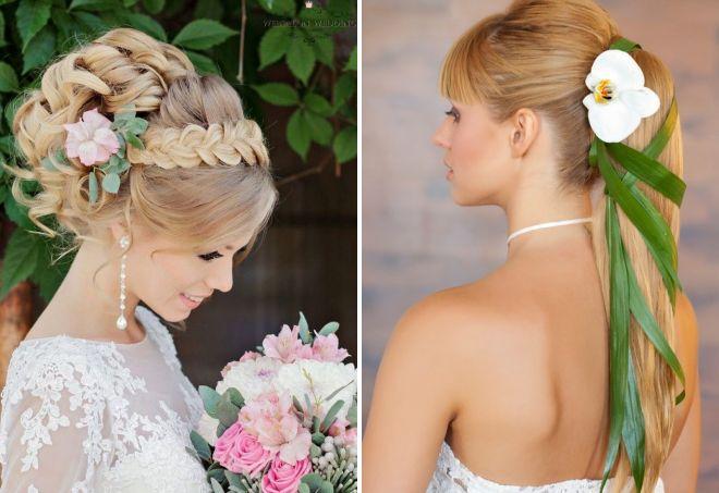 свадебные прически 2017 с цветами