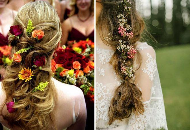 красивые свадебные прически с цветами