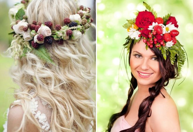 стильные свадебные прически с цветами