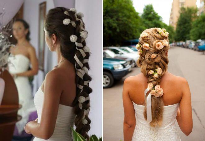 свадебные прически с цветами на длинные