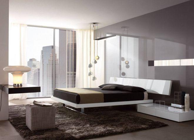 Дизайн спальни в стиле хай тек