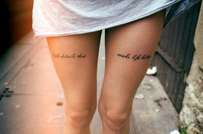 для девушек на ноге надписи спереди