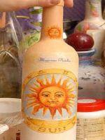Декупаж бутылок салфетками