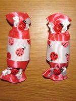 МК конфетки канзаши - заколки для девочки