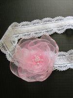 Повязка на голову для девочки с цветком из органзы