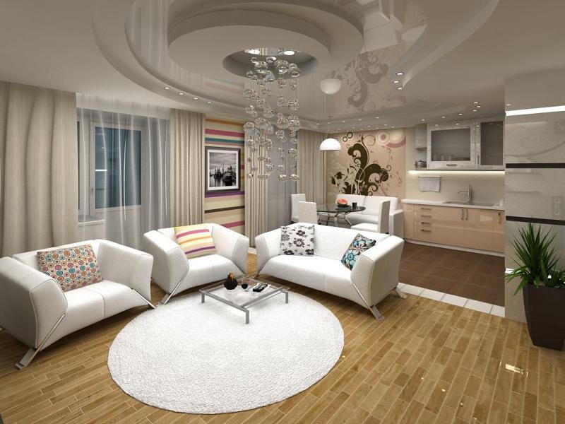 Дизайн гостиной кухни студии