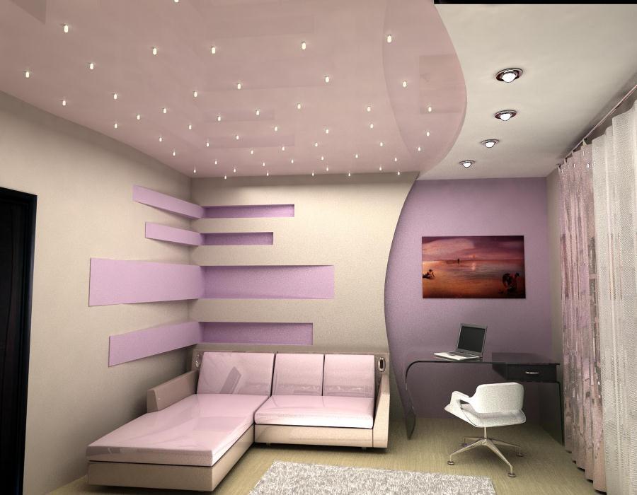 ... faux plafond avec eclairage indirect, radiateur electrique au plafond