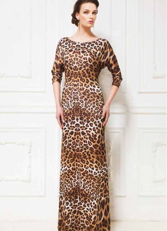 Леопардовое платье до пола