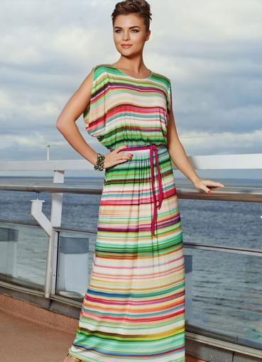 Летнее трикотажное платье длинное