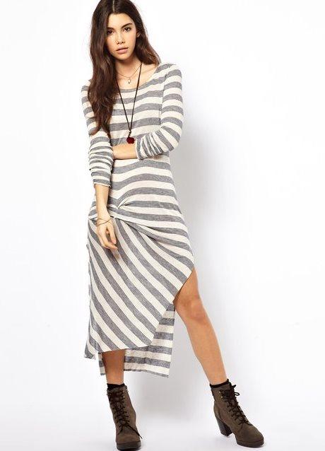 Полосатое платье трикотаж