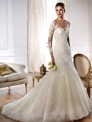 Свадебное платье с рукавами кружевное
