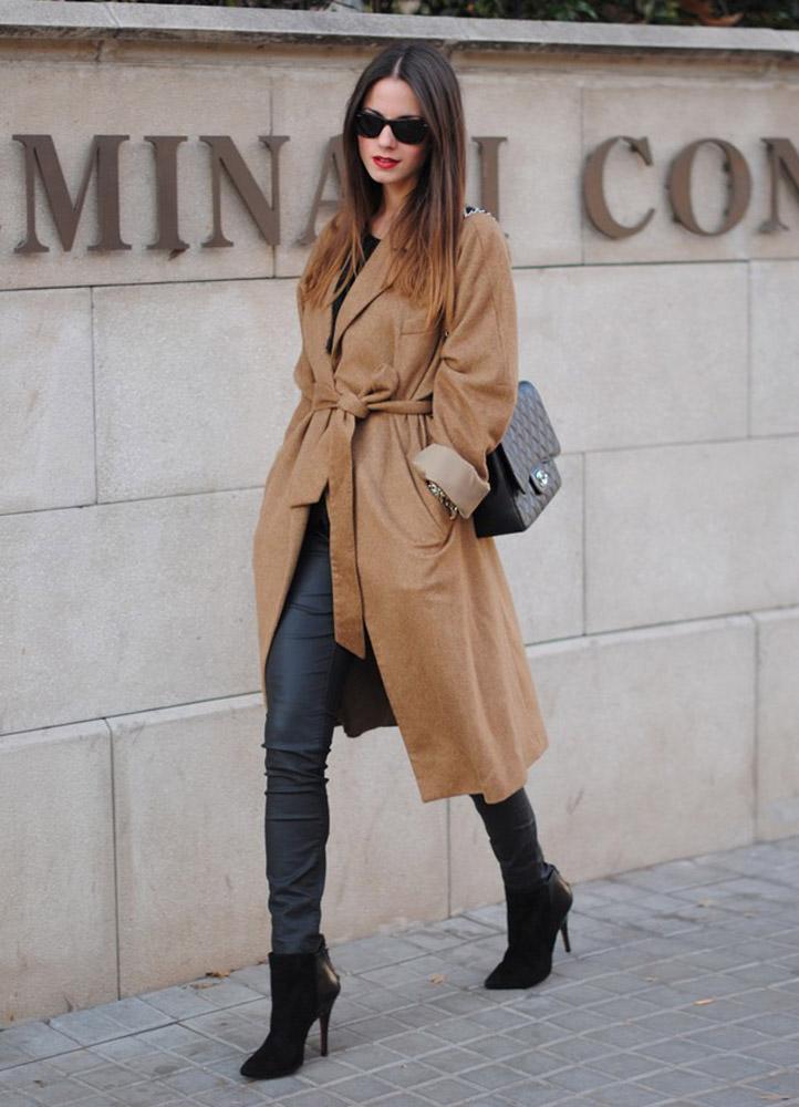 с чем носить пальто-халат фото
