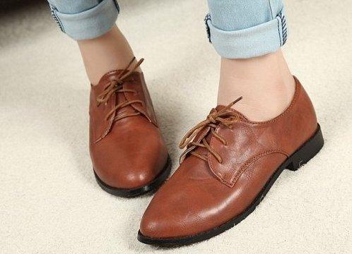Ботинки женские на шнурках без каблука