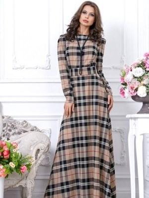 Платья в клетку длинные в пол с длинным рукавом