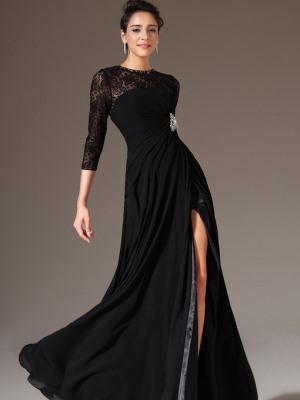 Черное платье в пол с рукавом фото