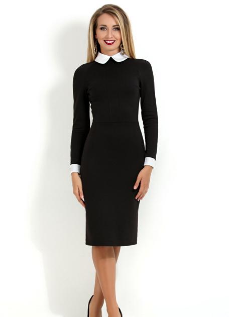 Платье шерстяное с белым кружевным воротником