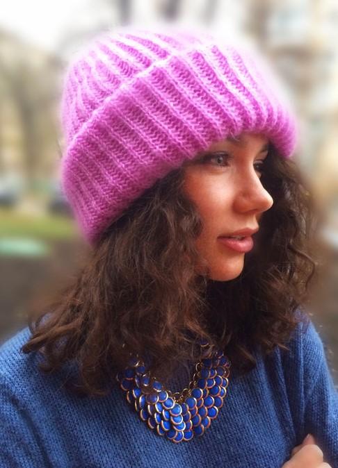 Вязание шапки из мохера