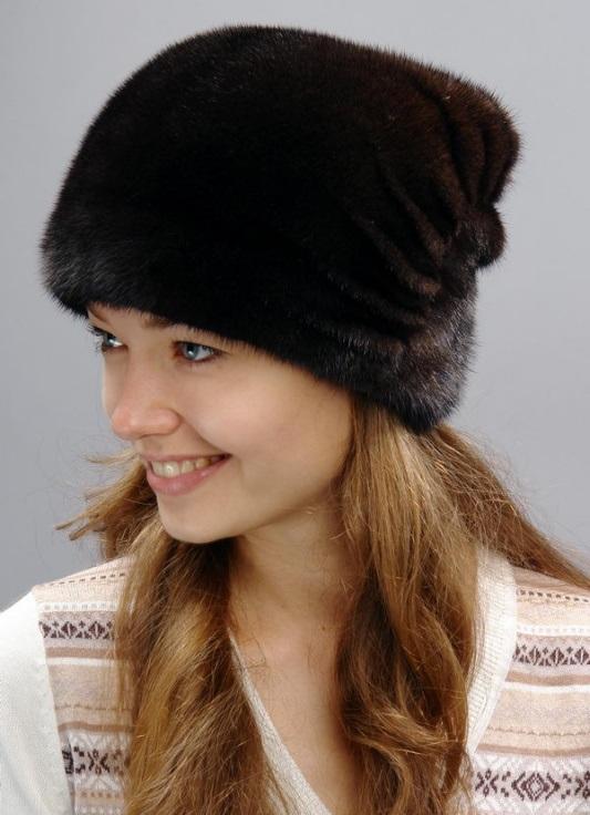 Вязаные норковые шапки