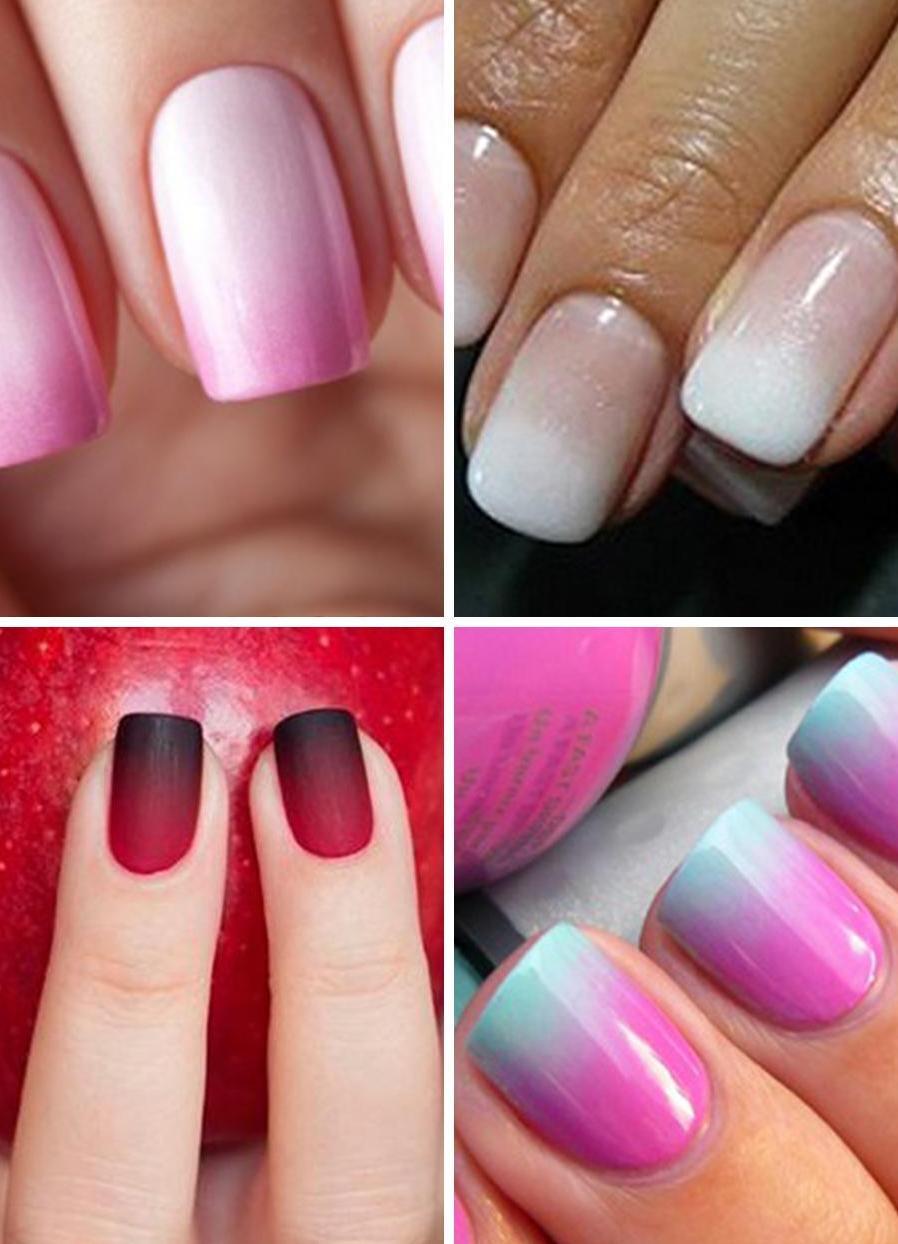 Переход цвета на ногтях шеллаком фото