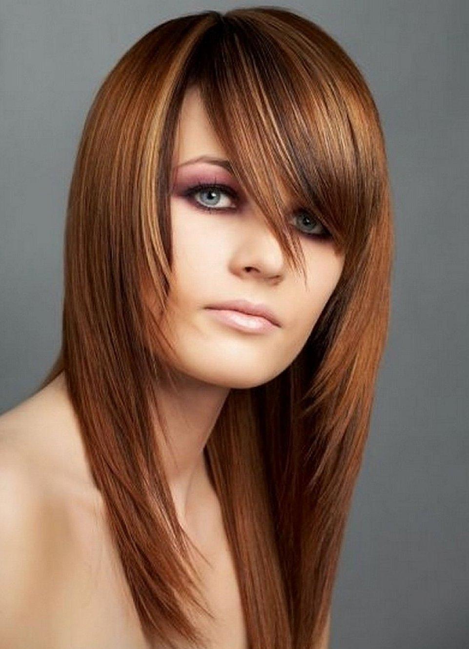 Стрижка женская на длинные волосы с косой челкой