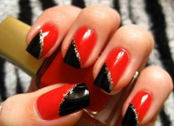 Фото ногтей черный с красным