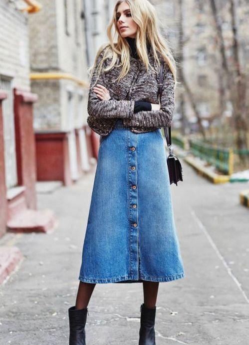 Джинсовая прямая юбка с пуговицами