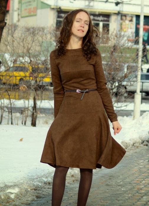 Платье замша кружево