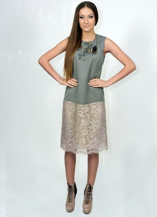 Платье с гипюром отделка