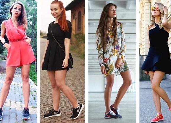 Сочетание кроссовок с платьем фото