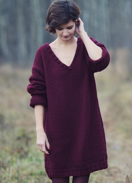 Тёплое платье свободного кроя