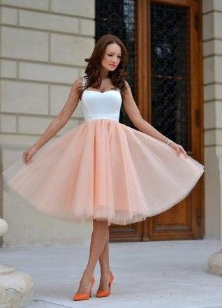 Как носить юбку миди из фатина