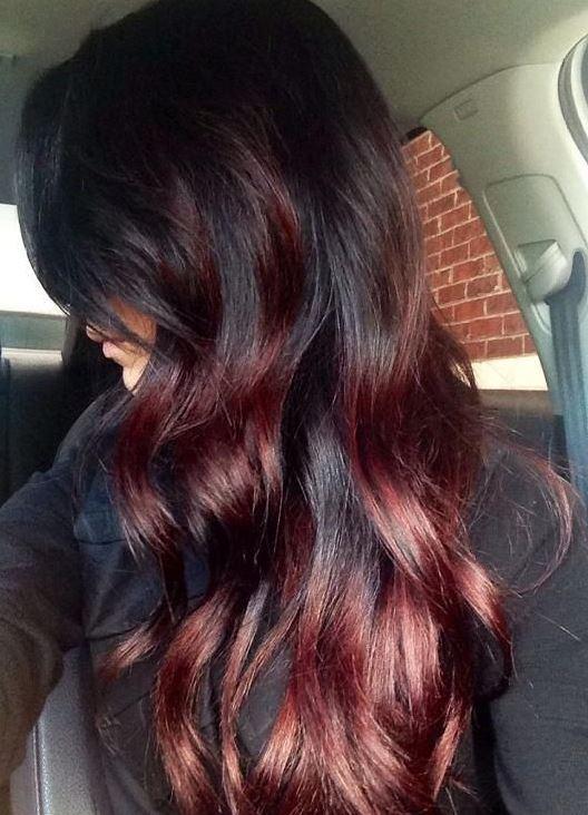 Темно бордовый цвет волос