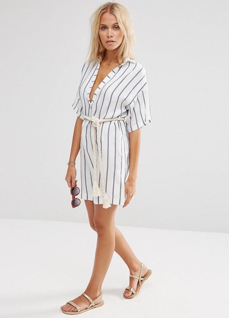 Платья рубашки в полоску 2017
