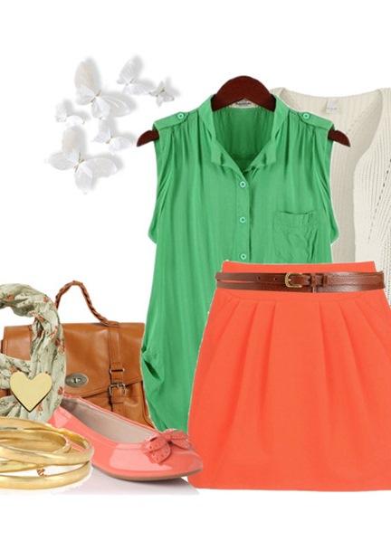Оранжевая Блузка И Зелёные Брюки