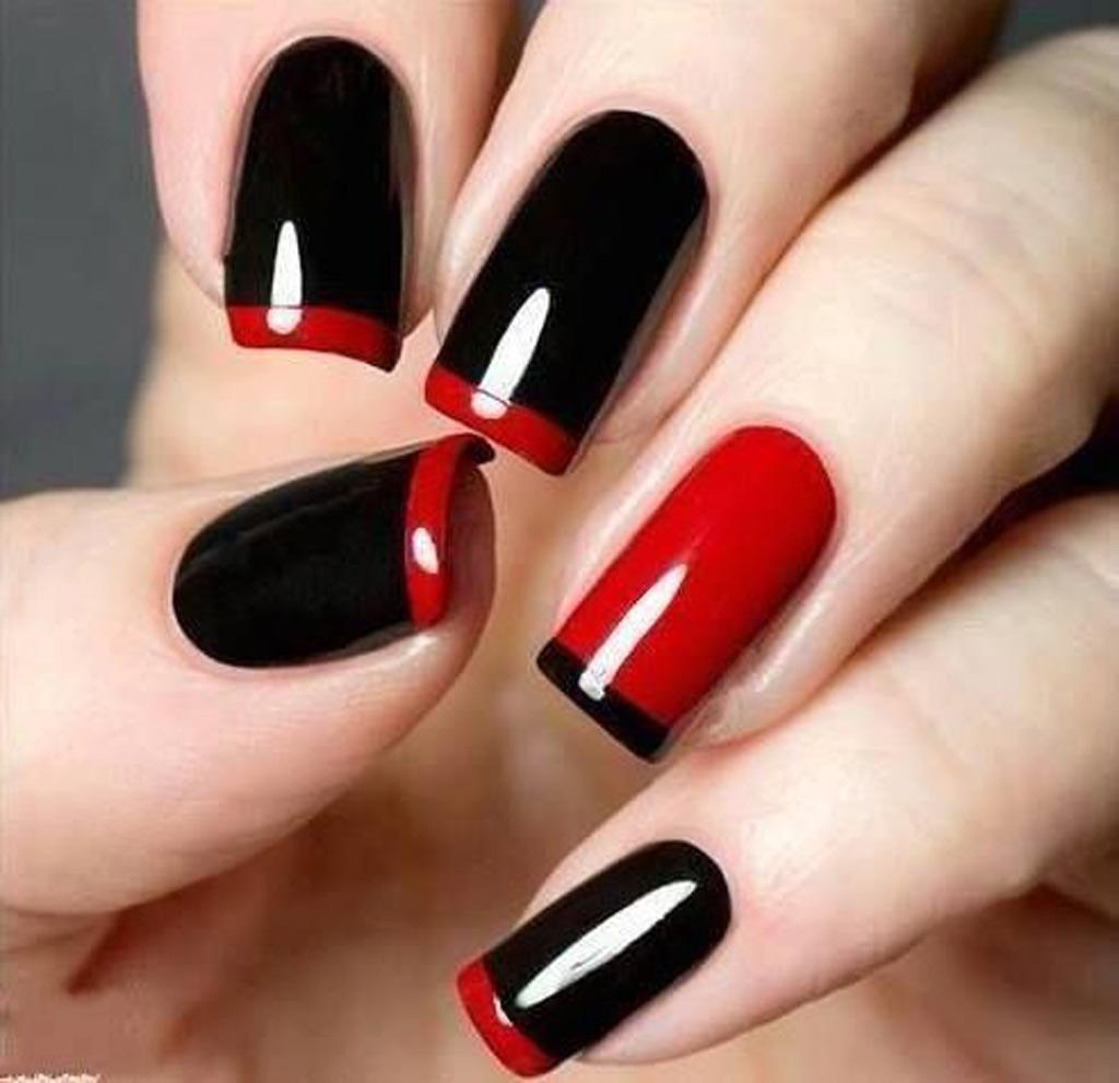 Наращивание ногтей черно красные