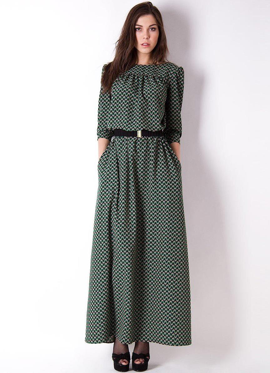 Осенняя вязанное платье