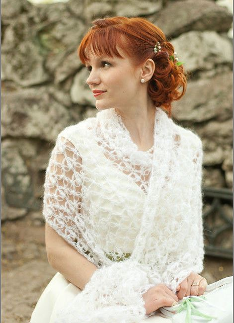 Накидки на свадебное платье осенью