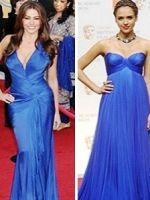 Синее вечернее платье – модный выбор