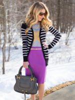 Фиолетовая юбка – самые модные фасоны и с чем носить?