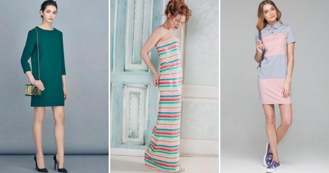 Трикотажное прямое платье до колен