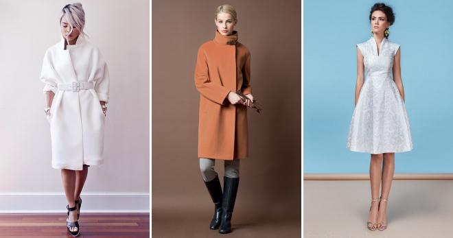 Стильний комір-стійка з різним одягом: пальто, куртка, піджак, светр, весільна сукня, сорочка, блуза