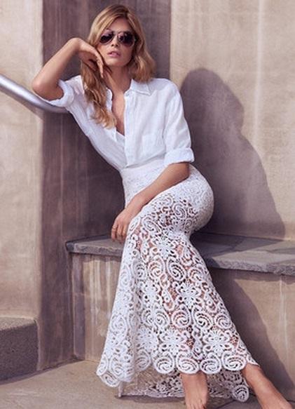 Белая кружевная юбка в пол