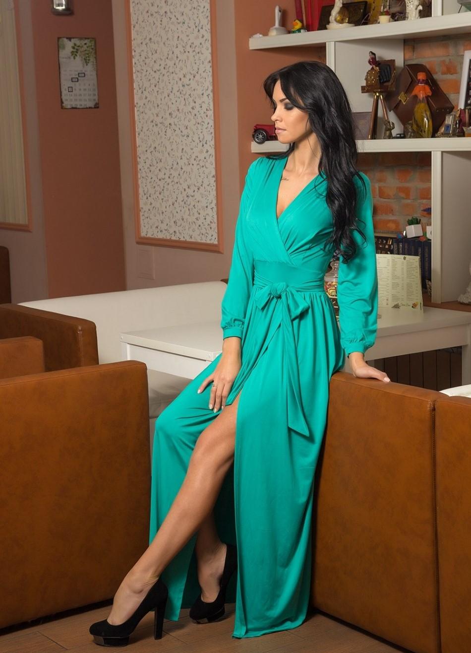 Вечернее платье халат в пол