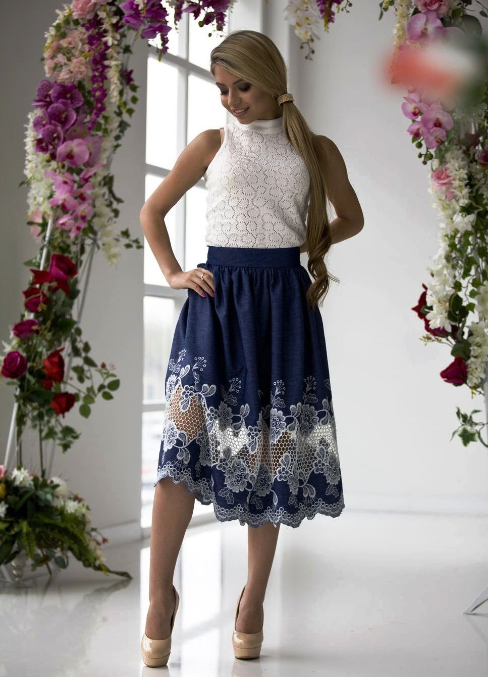 Длинные юбки с кружевом фото